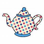 image of pot-bellied  - Polka dot outlined tea pot crockery vector illustration isolated on background - JPG
