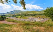 stock photo of messina  - distant view on antique stadium in Ancient Messina - JPG