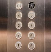 picture of elevator  - image of stainless steel elevator panel push buttons - JPG