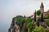 picture of lagos  - Lago di Garda (Lake Garda) Tremosine, church ** Note: Visible grain at 100%, best at smaller sizes - JPG