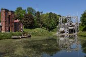 image of hydraulics  - Old hydraulic boat lifts and historic Canal du Centre Belgium Unesco Heritage  - JPG