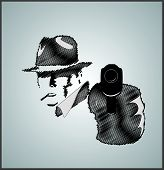 picture of gangster  - Gangster in shadow with gun vector illustration scribble - JPG