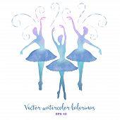 stock photo of ballerina  - Vector watercolor ballerinas set - JPG