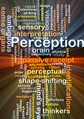image of perception  - Background concept wordcloud illustration of perception glowing light - JPG