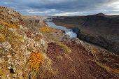 stock photo of waterfalls  - Dettifoss is a waterfall in Northeast Iceland and is reputed to be the most powerful waterfall in Europe - JPG