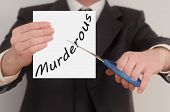pic of murder  - Murderous man in suit cutting text on paper with scissors - JPG