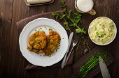 picture of mashed potatoes  - Schnitzel with herbs mashed potatoes and chives - JPG