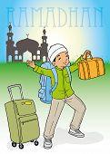 foto of muslim kids  - Indonesian muslim kid homecoming with bags for Ramadhan - JPG