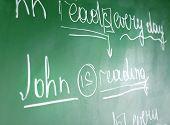 pic of grammar  - Teacher hand writing grammar sentences on blackboard background - JPG