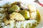 image of curry chicken  - Kanom jeen green curry with chicken  - JPG