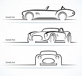 foto of muscle-car  - Set of vintage classic sports car silhouettes - JPG