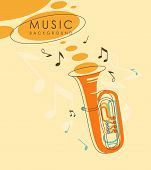 stock photo of wind instrument  - Background with wind musical instrument tuba in vintage sketch style - JPG