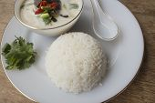 stock photo of gai  - Rice with chicken in coconut milk soup - JPG