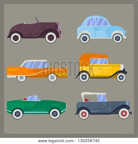 poster of Vector retro cars, flat style. Set of vintage cars. Classic cars. Old cars.Retro luxury cars. Set of the icons in vector. Flat style retro cars. Big set of classical cars.