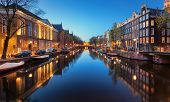 Beautiful Night Cityscape With Canals Of Amsterdam, Netherlands poster