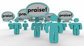 Praise People Speech Bubbles Compliments Words 3d Illustration poster
