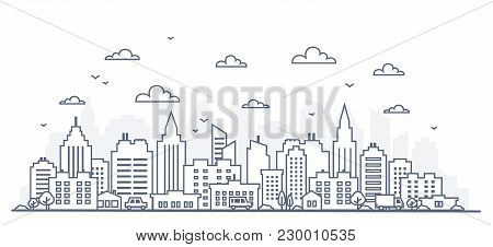 poster of Thin Line Style City Panorama. Illustration Of Urban Landscape Street With Cars, Skyline City Office