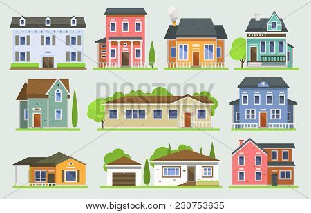 poster of Cottage House Facede Vector City Street View Buildings Of Town House Face Side Modern World House Bu
