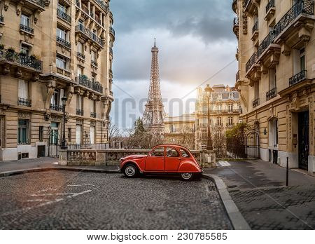 poster of The Eifel Tower In Paris From A Tiny Street