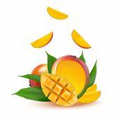 Mango Fruit For Fresh Juice, Jam, Yogurt, Pulp. 3d Realistic Yellow, Red, Orange Ripe Mango Cubes An poster