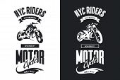 Vintage Bikers Club Black And White Isolated Vector T-shirt Logo.premium Quality Motorcycle Logotype poster