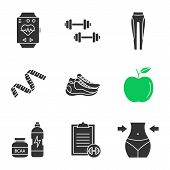 Fitness Glyph Icons Set. Sport Bracelet, Dumbbells, Leggings, Measuring Tape, Apple, Sneakers, Bcaa  poster