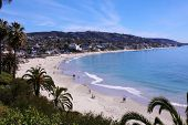 Laguna Beach California - Main Beach. View of Lagunas World Famous Main Beach as seen from the Look poster