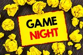 Handwriting Announcement Text  Game Night. Conceptual Photo Entertainment Fun Play Time Event For Ga poster