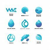 Abstract Gradient Water Logo Set. Aqua  Wave Geometric Logo Vector Illustration. Nature Elements, Al poster