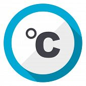 Celsius blue flat design web icon poster