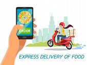 Vector Cartoon Express Food Delivery Concept . Poster Background Template With Man Hand Making Order poster