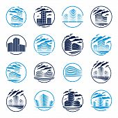 Futuristic Building Round Shape Icon Or Logo Set, Modern Style Vector Architecture Illustrations Col poster
