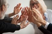 Hands Of Diverse Business People Giving High Five, Smiling Team Members, Teachers And Students Promi poster