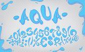 Aqua Hand Drawn Signs And Numbers, Vector Illustration. Aqua Digits poster