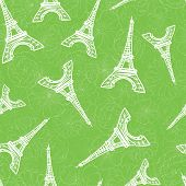 Vector Green Eifel Tower Paris And Roses Flowers Seamless Repeat Pattern. Perfect For Travel Themed  poster