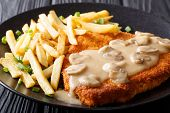 Delicious Wiener Hunter Schnitzel With Sauce And French Fries Close-up. Horizontal poster