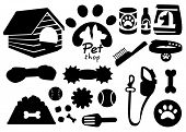 Set Of Pet Shop Black Icons. Accessories For Cats. Flat Vector Illustration. Feed, Toys, Bowl, Colla poster