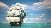 picture of sloop  - ship in the sea - JPG