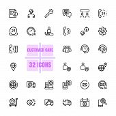 Customer Care Vector Illustration Thin Line 48x48 Pixel Perfect 32 Icon Set For Business, Customer,  poster