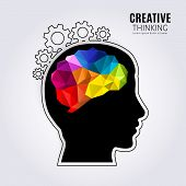 Creative Mind. Concept Of The Human Brain Inside Black Head Profile And One Line Forming Cogwheels.  poster