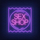 Sex Shop Neon Sign. Condom Package On Brick Wall. Night Bright Advertisement. Vector Illustration In poster