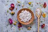 Beautiful Composition Of Spa Treatment On White Background. Concept Spa Background With Salt In Wood poster