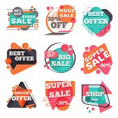 Set Of Modern Sale Labels. Collection Symbols Such As Special Offer, Hot Sale, Best Price, Big Sale, poster