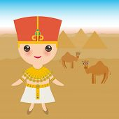 Ancient Egypt Boy In National Costume And Hat. Cartoon Children In Traditional Dress. Ancient Egypt, poster