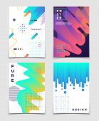 Futuristic Abstract 3d Fluid Oil With Memphis Pattern Elements. Modern Party Vector Posters. Brochur poster