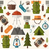 Hiking Pattern With Forest Adventure And Summer Activity Elements And Icons. Picnic And Camping Seam poster