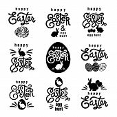 Easter Wishes Set. Hand-drawing Labels Design. Lettering, Silhouette Of Easter Hare And Easter Eggs. poster
