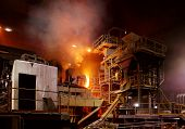 Atmosphere Of Steel-making Furnace In Smelting Steel Plant. poster