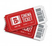 Two Cinema Vector Tickets Isolated On White Background. Realistic Front View Illustration. Close Up  poster