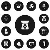 Set Of 13 Editable Cooking Icons. Includes Symbols Such As Lactose, Oven Glove, Cheese And More. Can poster